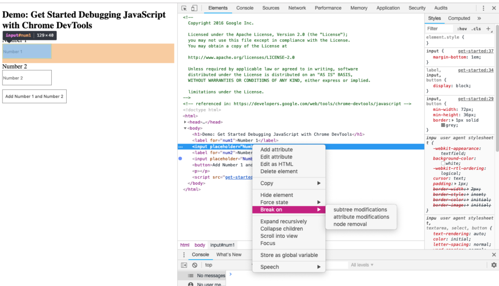 Screenshot of Chrome web developer tools in the browser