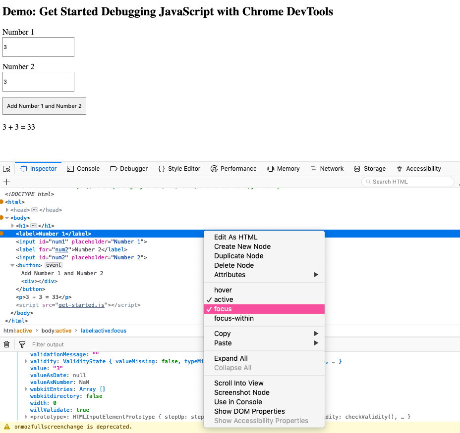 Screenshot of Firefox web developer tools menu options for state change