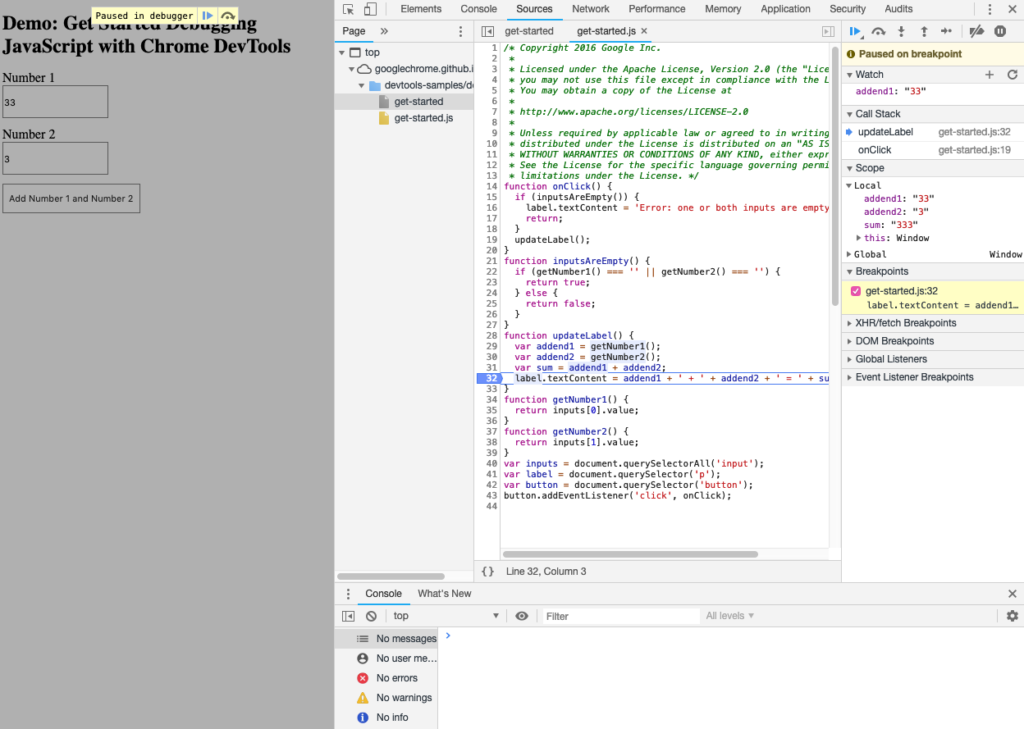 Screenshot of Chrome JS debugging tool