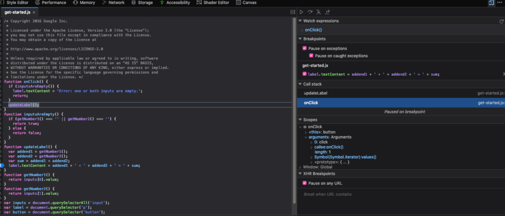 Firefox JavaScript debugger showing onClick() expression watch and scope windows